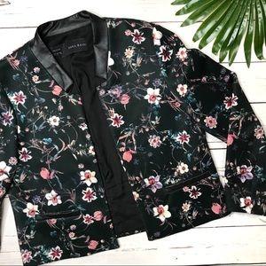 • Zara • sz L floral neoprene bomber jacket